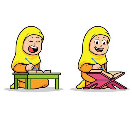 Moslem girl school kids reading holy Koran. Suitable for islamic theme illustration.  イラスト・ベクター素材