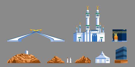 Landmark flat  icon of Meccas gate and  Hajj pilgrim progress rite.