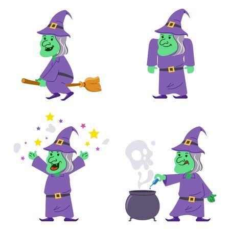 Vector flat character of old creepy witch.