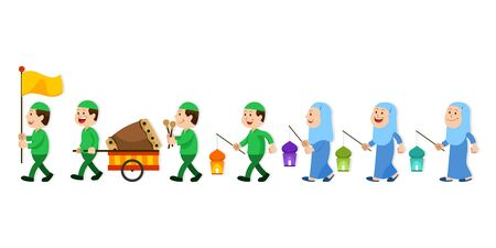 Moslem school kids character on parade. Suitable for islamic theme illustration.