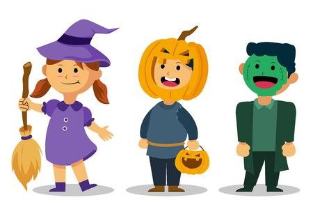 Vector character of cute kids wear  Halloween party costume.