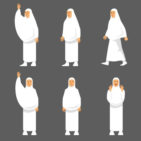 Set female character of hajj pilgrimage. Suitable for infographic. Иллюстрация