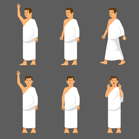 Set male character of hajj pilgrimage. Suitable for infographic. Иллюстрация