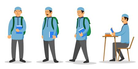 Moslem boy college student character set. Suitable for islamic education theme illustration.