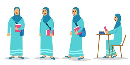 Moslem girl college student character set. Suitable for islamic education theme illustration.