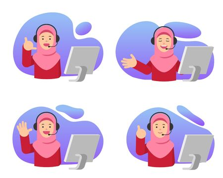 Customer care communication muslim girl vector flat illustration.