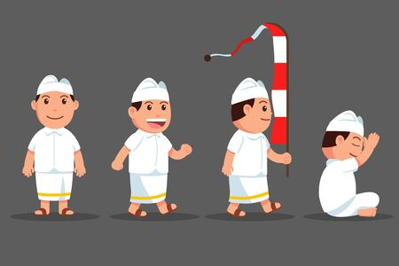Vector cartoon character set of Bali hindu boy. Suitable for hinduism theme.