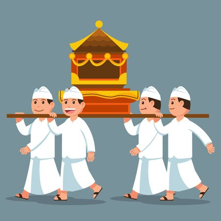 Vector illustration of Bali hindu ritual parade to the beach to perform purification ceremony of Melasti. Suitable for hinduism theme.