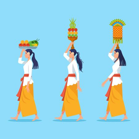 Vector character of girl on Bali hindu ritual parade to the beach to perform purification ceremony of Melasti. Suitable for hinduism theme.