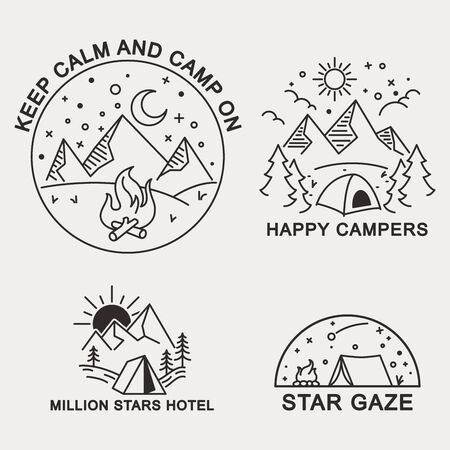 Simple line illustration badge of mountain camping theme.