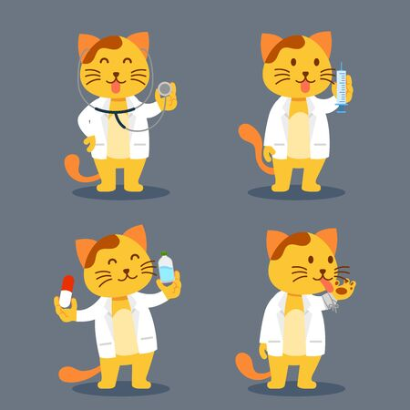 Vector flat character of yellow cat as pet doctor.