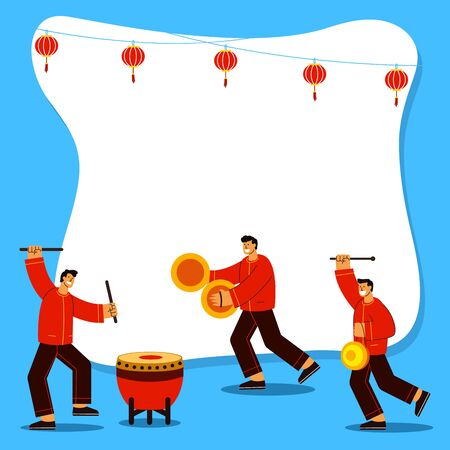 Traditional chinese musicians playing instrument for lion dance performance flat  illustration. Suitable for chinese new year theme.