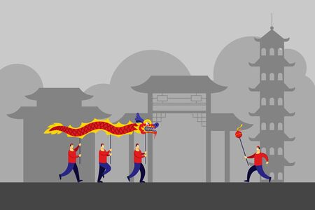 Traditional chinese dragon dance performance in front of chinese facade. Suitable for chinese new year theme. Illustration