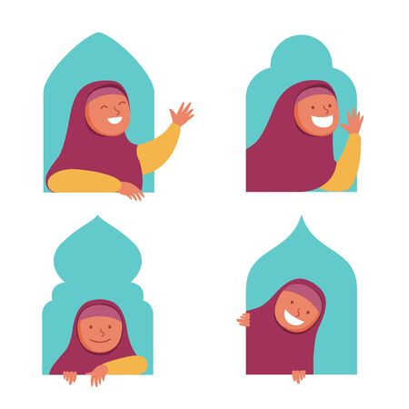 Character collection set of peeping moslem girl in the mosque window.