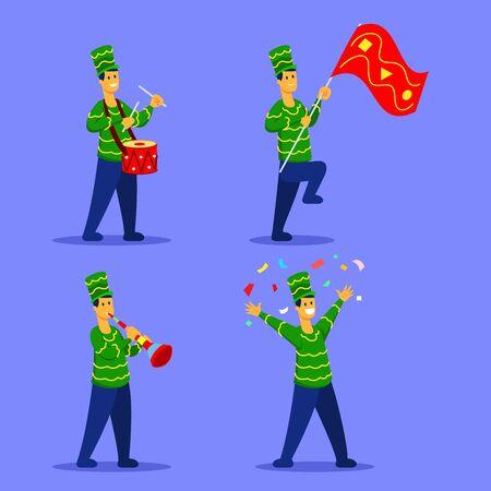 Cheerful man character celebrating on carnival parade flat illustration.