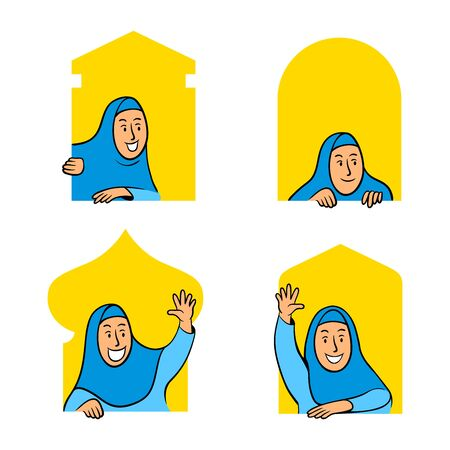 Cartoon character collection set of female moslem peeping in the mosque window. 일러스트