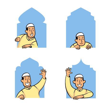 Cartoon character collection set of male moslem peeping in the mosque window.
