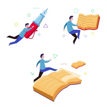 Imaginative illustration of flying boy book reader. Çizim