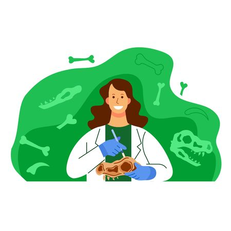 Female scientist work on dinosaur fossil research flat  illustration.