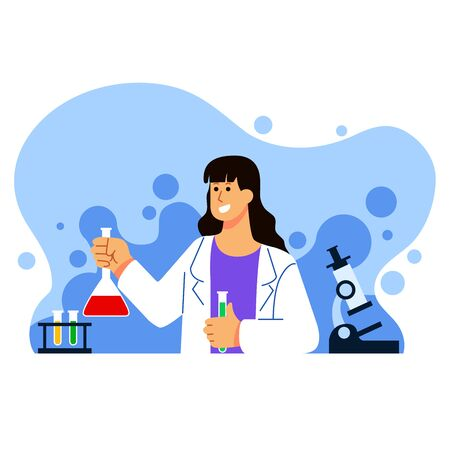 Female scientist work on experiment research flat  illustration.