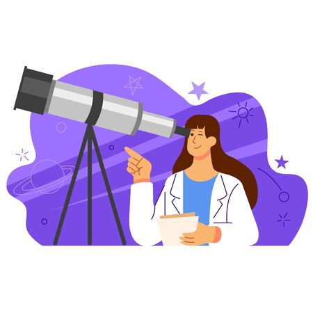 Female scientist looking through a astronomy telescope flat  illustration.