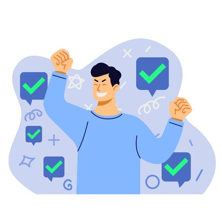 Happy young man got acceptance vector flat illustration.