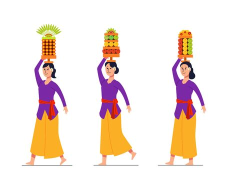Vector character of girl on Bali hindu ritual parade to the beach to perform purification ceremony of Melasti. Suitable for hinduism theme. Vecteurs