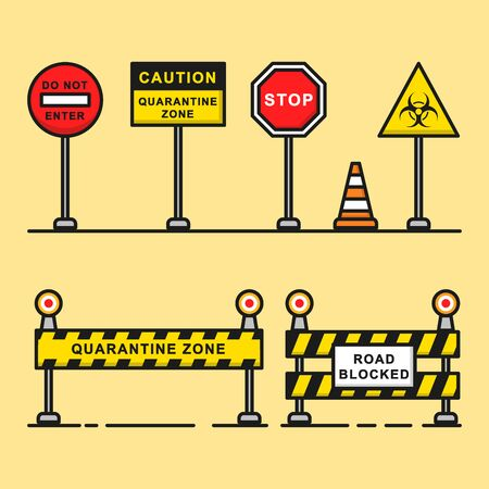 Road warning sign of quarantine zone graphic element.