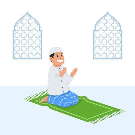 Moslem boy sit and pray near decorative window.