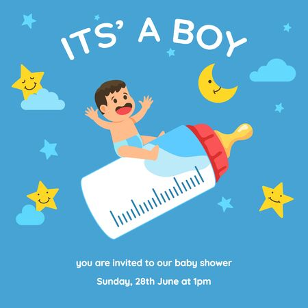Baby boy shower invitation template vector design. Just need to change date and place.