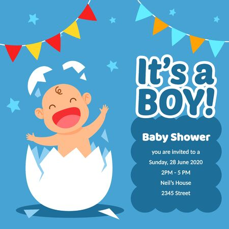 Baby boy shower invitation template design. Just need to change date and place.