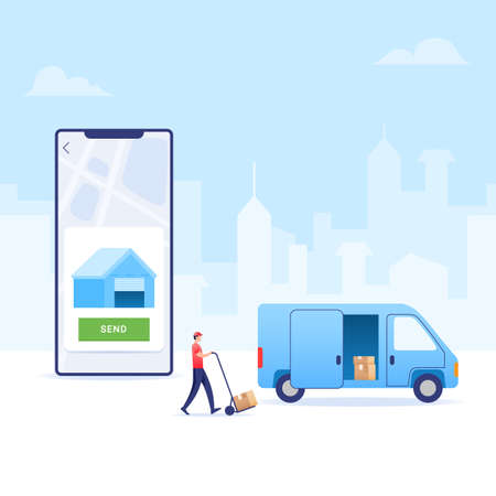 Courrier transporting goods ordered via electronic commerce application to buyer's home. Vettoriali