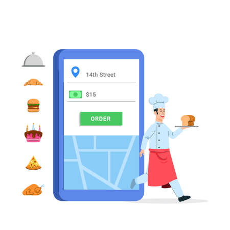 Ordering food via electronic commerce application. With optional food that you placing on chef's hand. Ilustração
