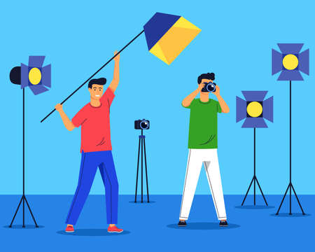 Photo shoot session activity vector flat illustration