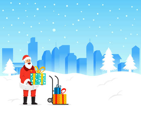 Santa Claus will delivery gift box to destination. Vettoriali