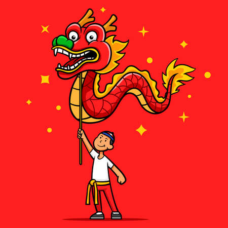 Chinese dragon dance performance cartoon illustration. Suitable for chinese new year theme.