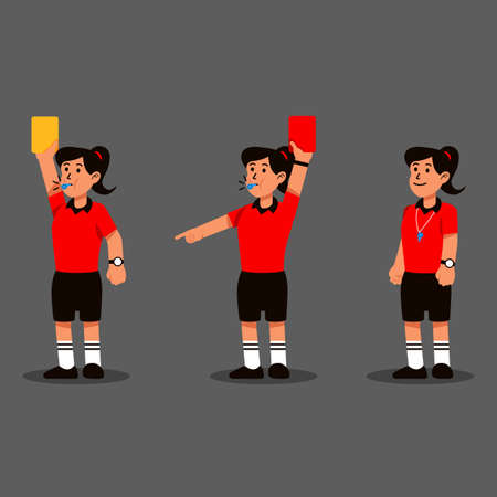 Female soccer referee blowing whistle and showing punishment card.