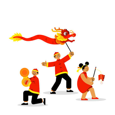 Group of youth celebrating  chinese new year vector illustration.