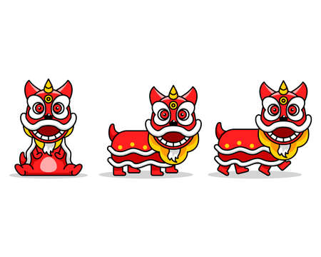 Chinese lion dance cartoon character. Suitable for chinese new year theme.  イラスト・ベクター素材