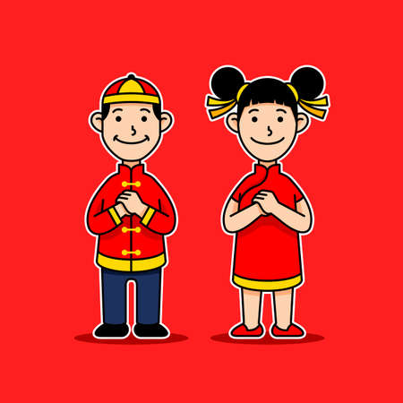 Cute vector character of chinese kids giving greetings.