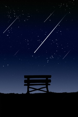 Location meteor watch at night. photo