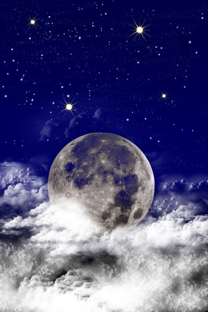 Abstract moon in the night sky. Stock Photo