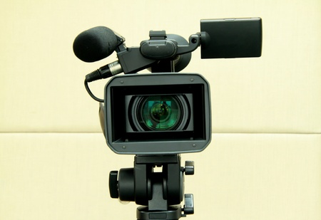 camcorder: Video camera for filming TV shows.