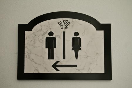 Restroom signs for men and women . photo