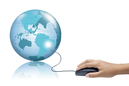 wold map: PC mouse and wold map. Stock Photo