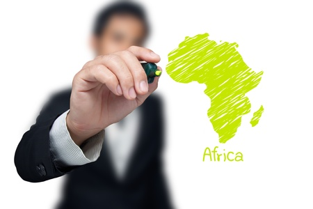 map pencil: Businessman drawing a map of continent Africa.