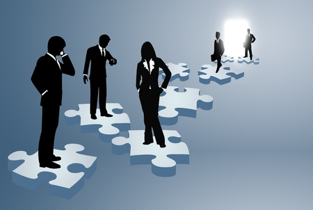 sales executive: Illustration with a team on puzzle pieces.