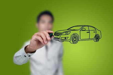 dream car: De vehículos de ocasión de dibujo en una pizarra. Foto de archivo