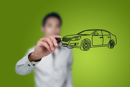 sell: Hand drawing car in a whiteboard. Stock Photo