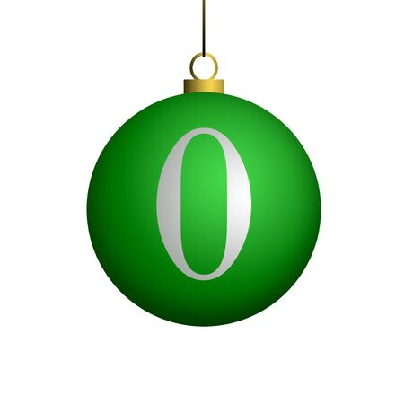 Number zero from cristmas ball alphabet. photo